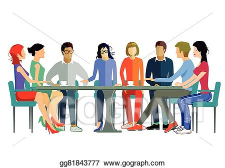 Discussion clipart team discussion. Vector illustration