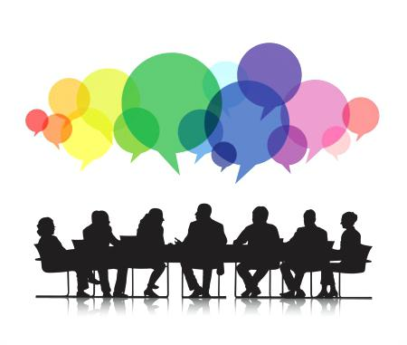 Discussion clipart. Round table politics panel