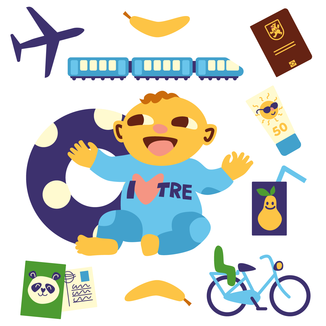 Travelling with a baby. Tired clipart dehydrated