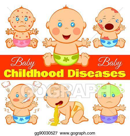 Flu clipart childhood illness. Vector art diseases background