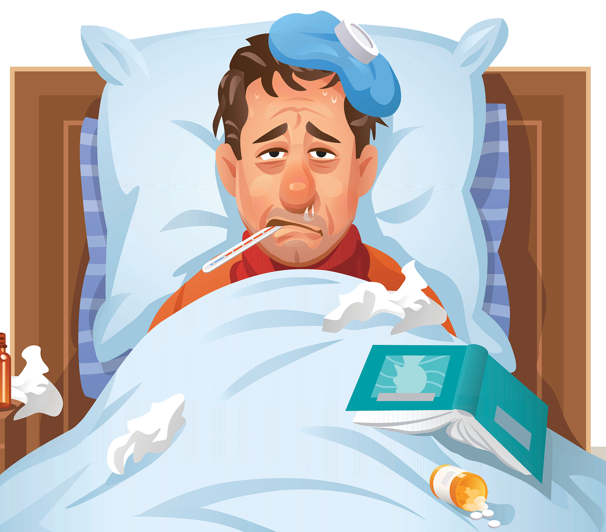 Flu clipart bed cartoon. Download influenza rest disease