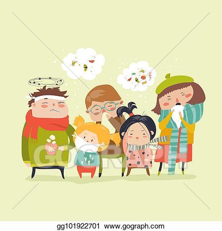 Vector illustration sick children. Flu clipart childhood illness