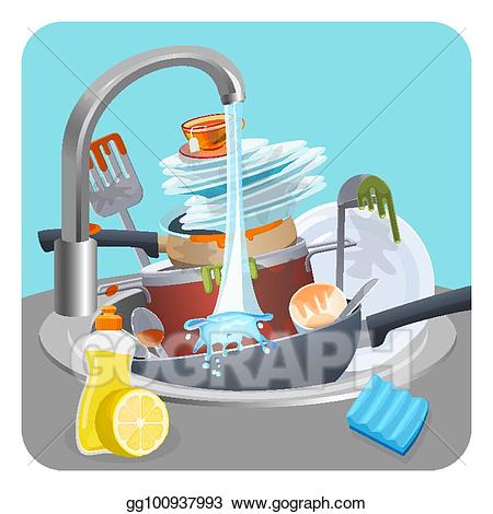 Vector illustration dishes plates. Faucet clipart dirty sink