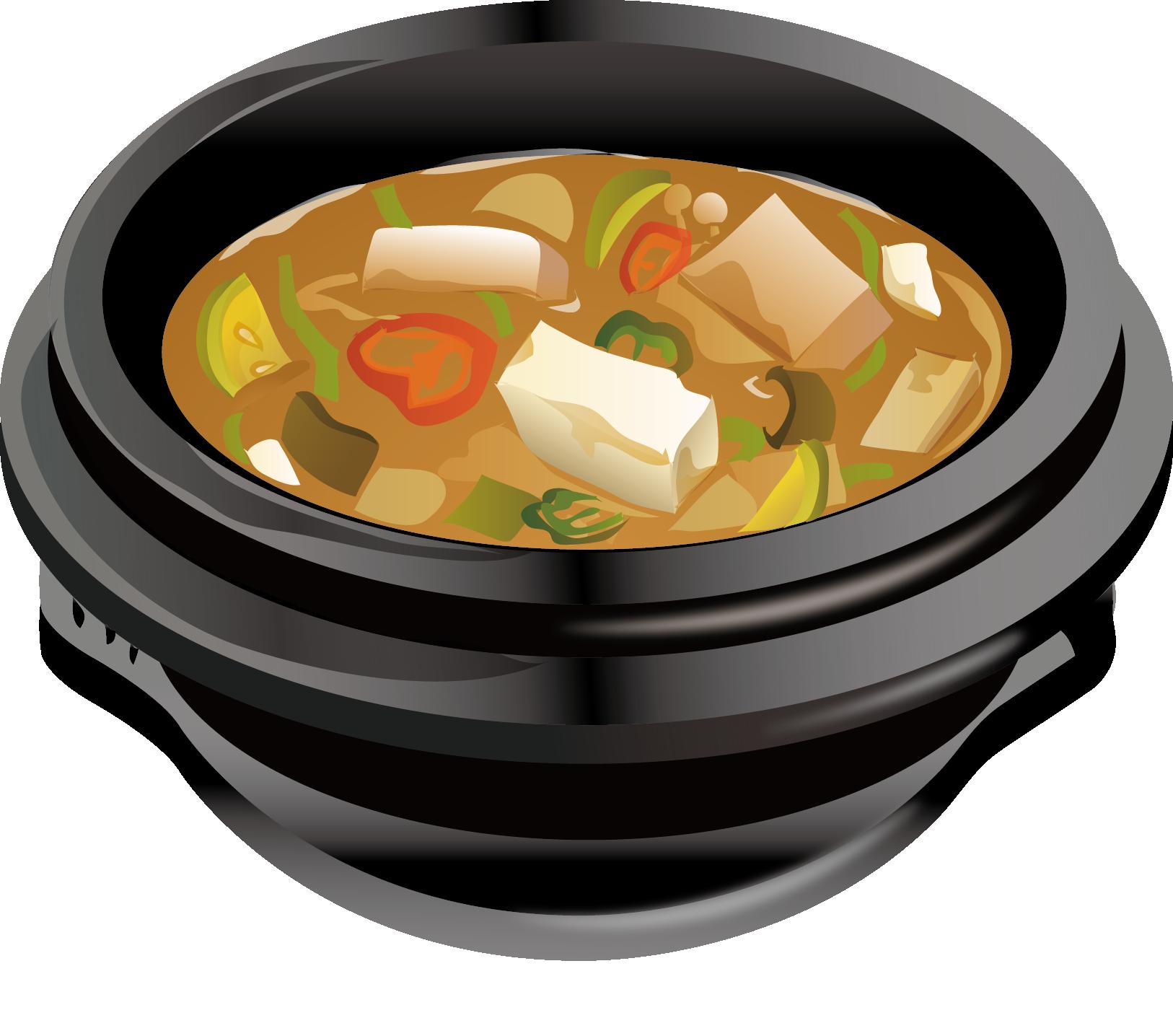 Soup clipart hand drawn. Nabemono dish cartoon illustration