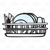 With drying . Dishes clipart dish rack