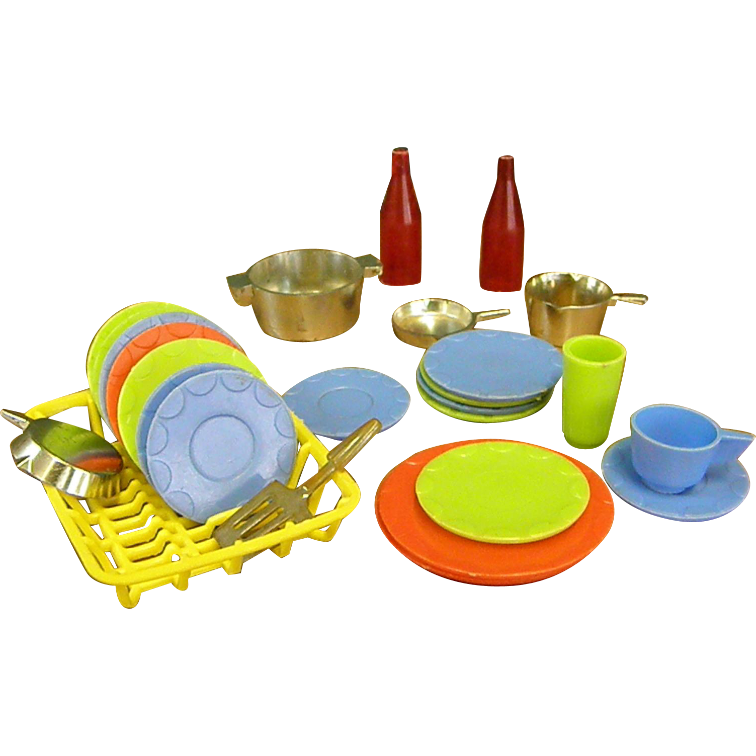 Cute miniature plastic and. Dishes clipart dish rack