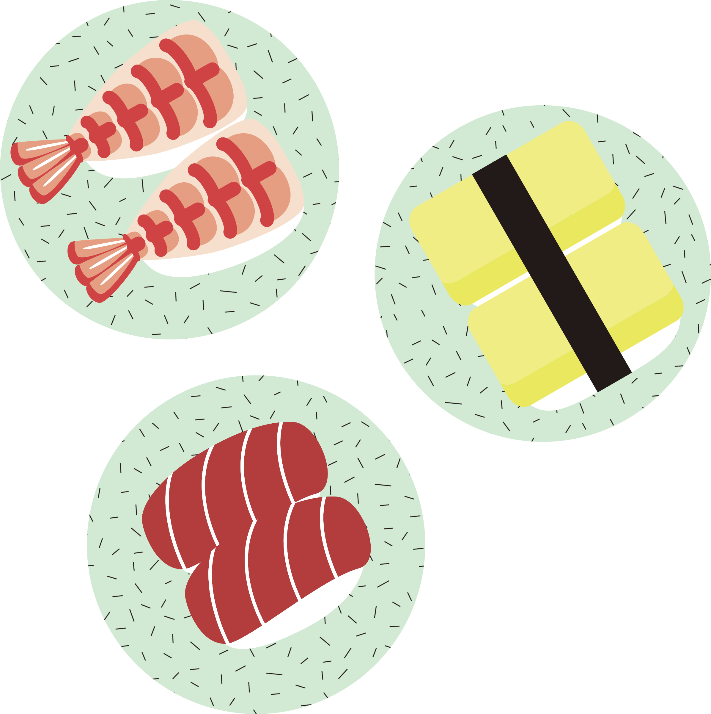 Plate clipart plate rice. Sushi on plates big