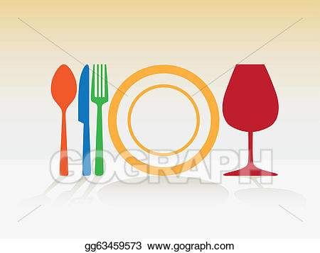 Symbol for spoon knife. Dishes clipart plate glass