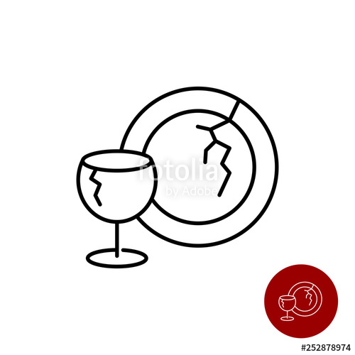 Dishes clipart plate glass. Broken icon wine and