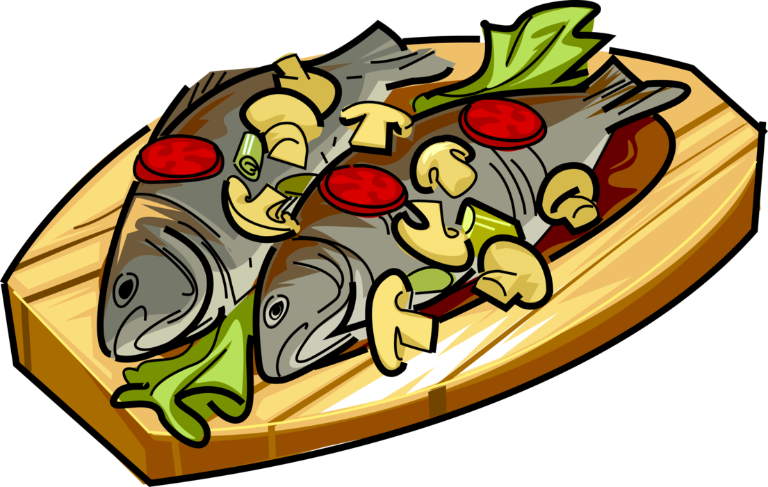 With mushrooms and tomato. Dishes clipart roast fish