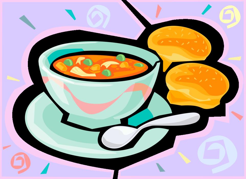 Soup clipart vegetable soup. With buns vector image