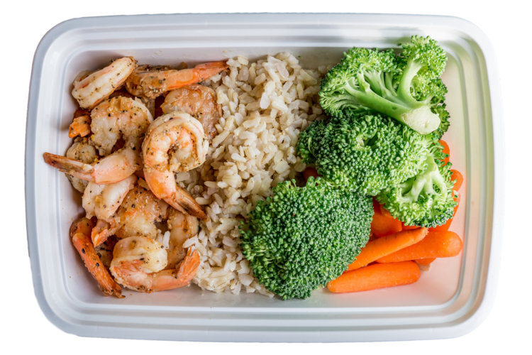 Shrimp meal . Dishes clipart steamed vegetable