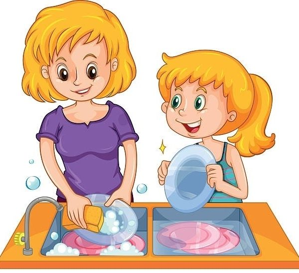 Dishes clipart. Wash the letters intended