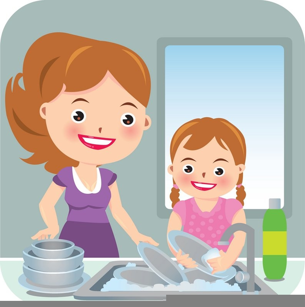 Dishes clipart. Kids washing free images
