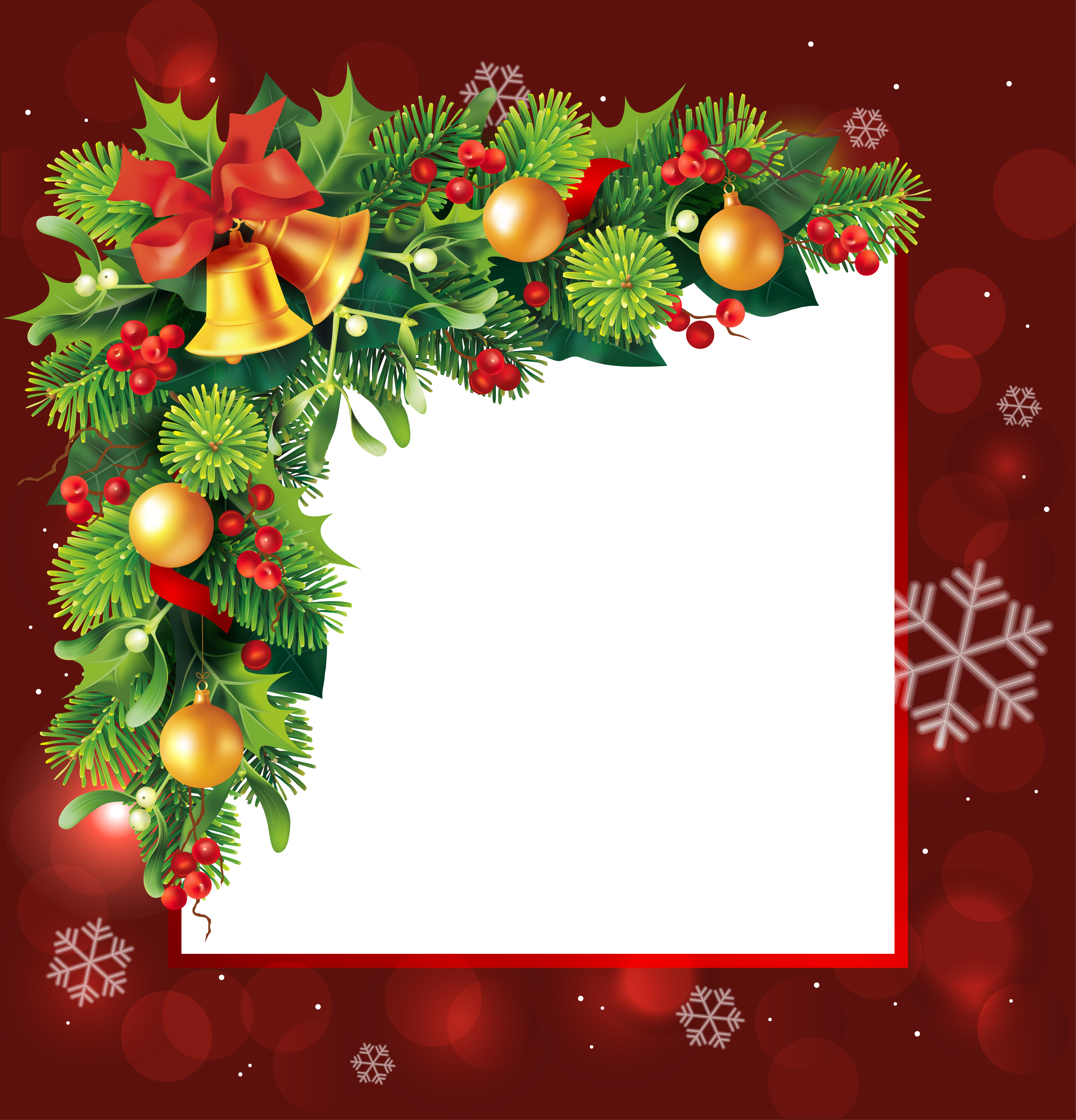 Red transparent border grafika. Christmas card frame png