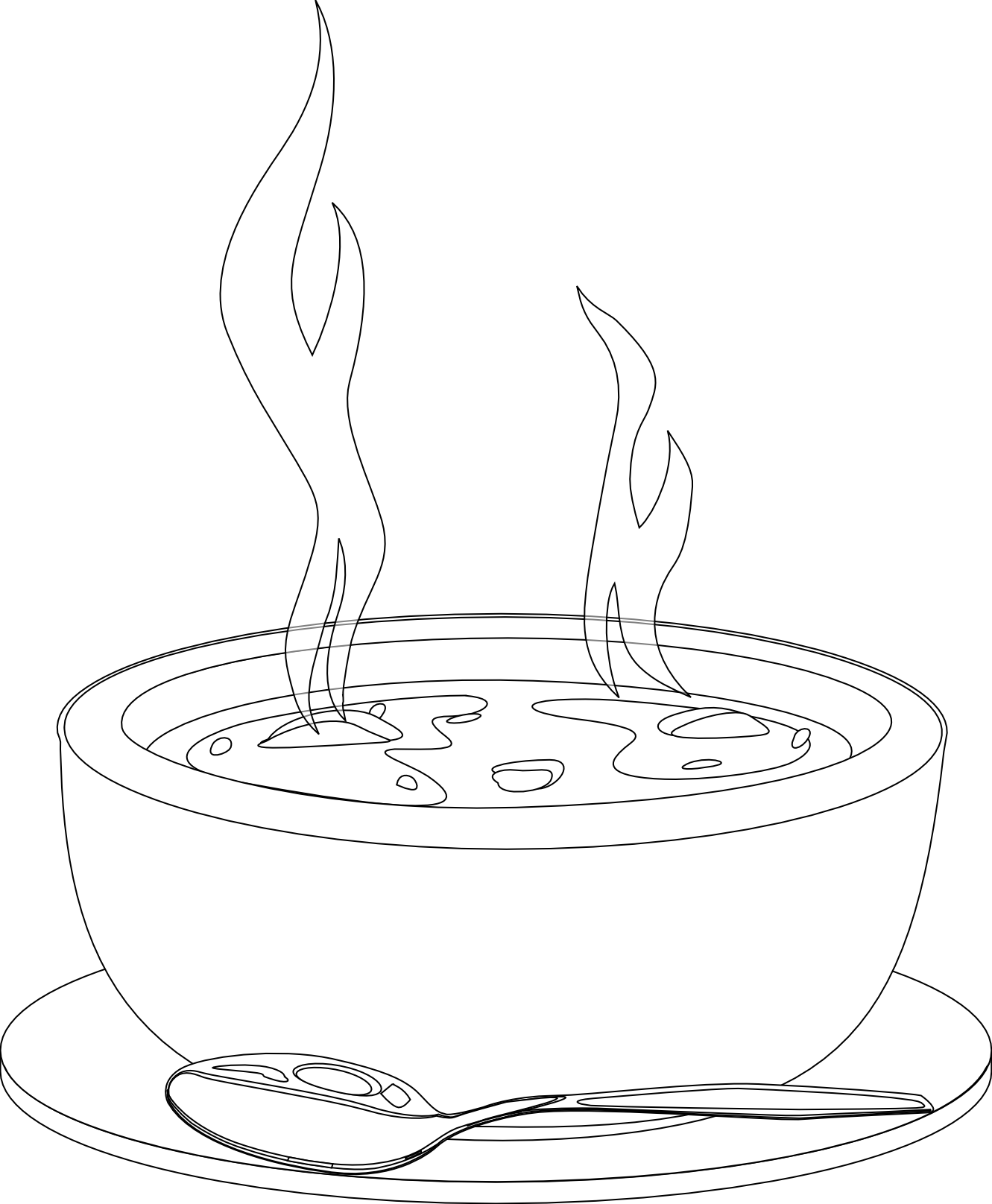 Dishes clipart soup bowl. Black and white panda