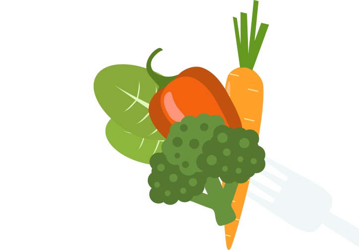 Raw or cooked vegetables. Dishes clipart steamed vegetable