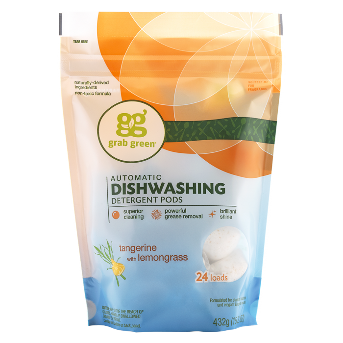 Tangerine with lemongrass detergent. Dishwasher clipart clean plate