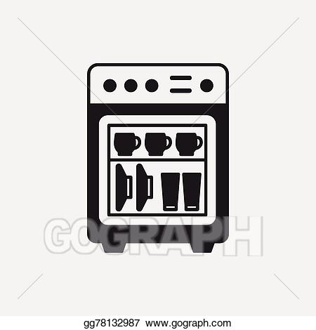 Dishwasher clipart dish washer. Vector icon illustration