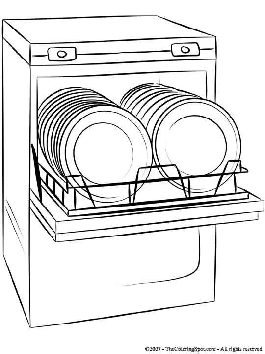 Dishwasher clipart kid. Coloring page audio stories