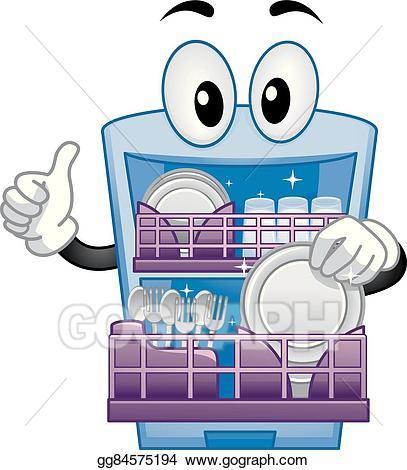 Dishwasher clipart man. Vector illustration mascot thumbs