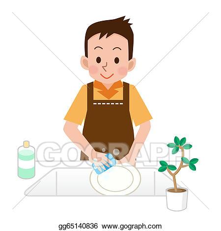 Dishwasher clipart man. Stock illustration men who