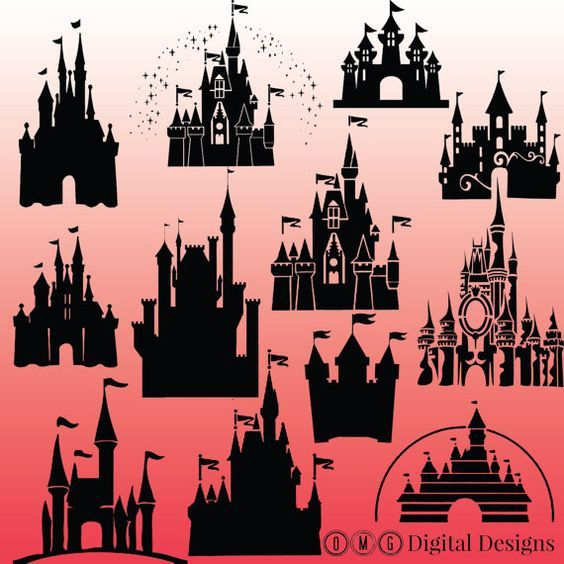 cinderella castle silhouette. Disneyland clipart design