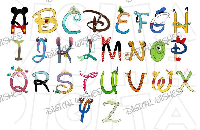Disneyland clipart font. Disney character text alphabet