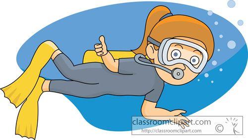 Girls scuba diving cartoon. Diver clipart