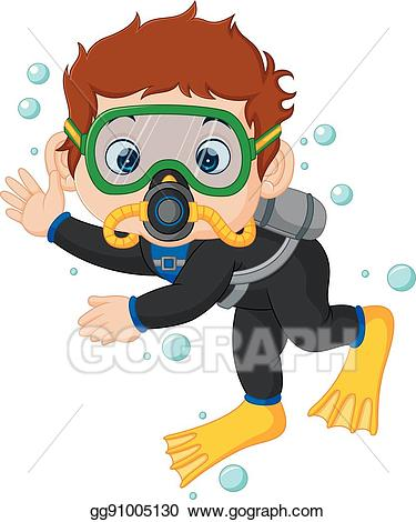Diver clipart boy. Eps illustration cartoon vector