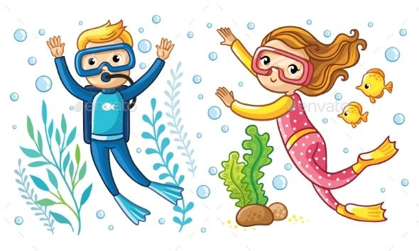 A boy and swim. Diver clipart little girl