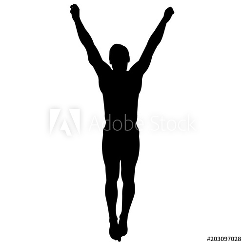 Man diving silhouette boy. Diver clipart male