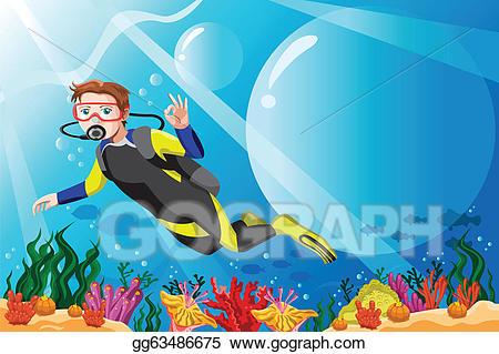 Diver clipart ocean diver. Vector art scuba in