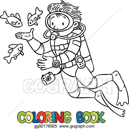 Vector illustration funny or. Diver clipart oceanographer