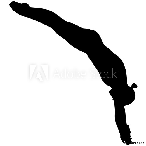 Diver clipart olympic diver. Woman diving silhouette female