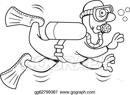 Diver clipart outline. Eps illustration cartoon scuba