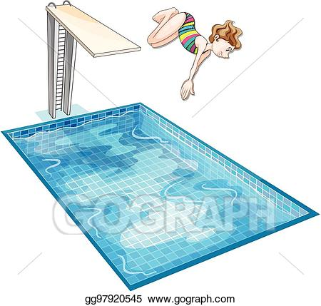 Vector art girl down. Diving clipart swimming pool