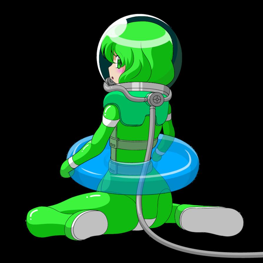 A girl in diving. Diver clipart scuba suit