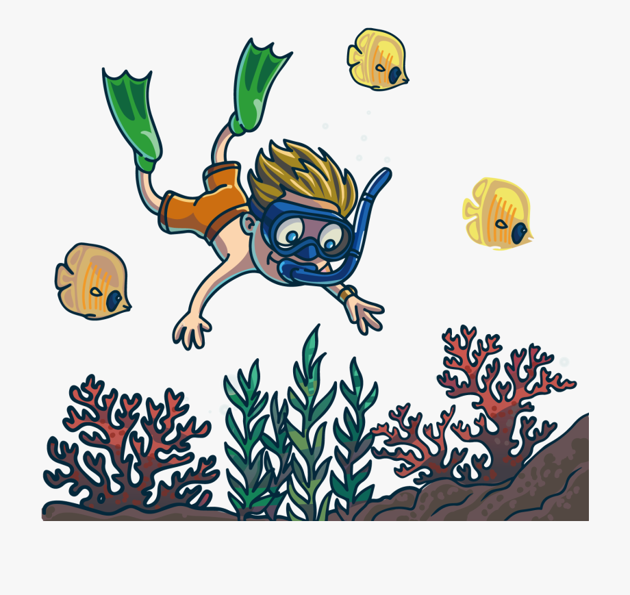 Diver clipart snorkeling. Cartoon scuba diving fun