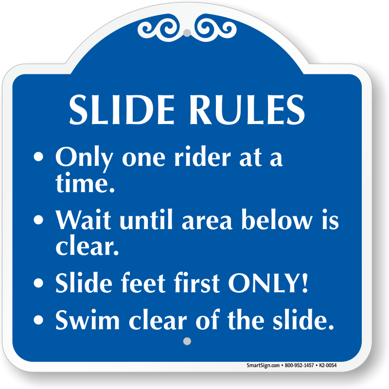 Water slide rules signs. Diving clipart swimming pool