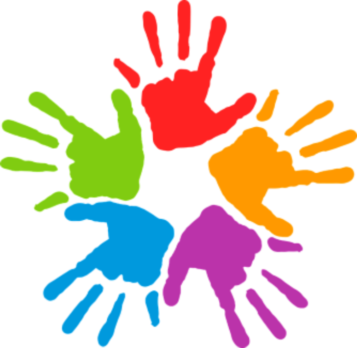 Adults with disabilities diversity. Handprint clipart purple