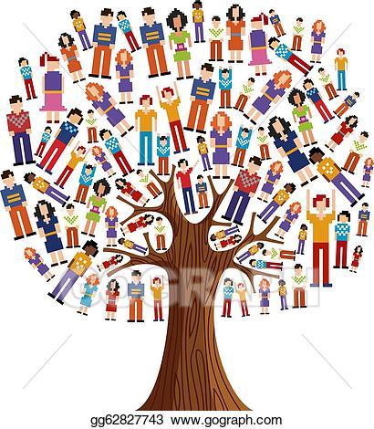 Diversity clipart human diversity. Eps illustration pixel tree