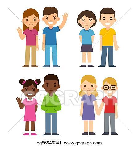 Diversity clipart sibling. Vector art cartoon kids