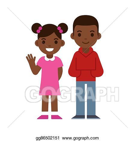 Vector stock black boy. Diversity clipart sibling
