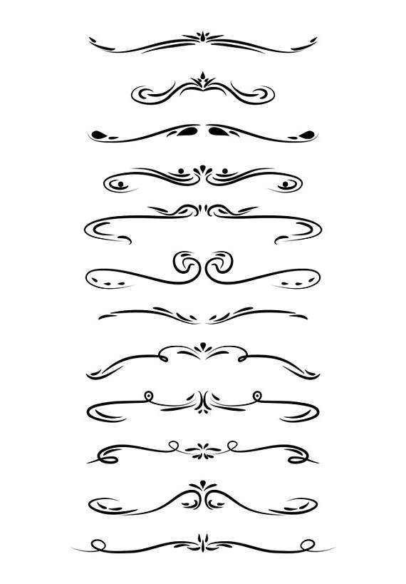 Wedding page line dividers. Divider clipart banner