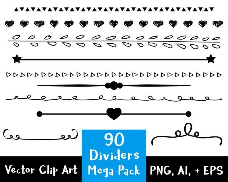 Line dividers mega pack. Divider clipart border