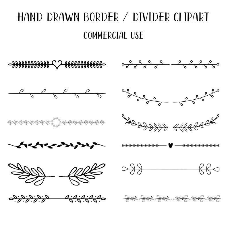 Hand drawn . Divider clipart border
