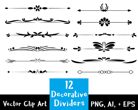 decorative dividers flourish. Divider clipart calligraphy