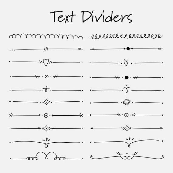Divider clipart document. Set of text dividers