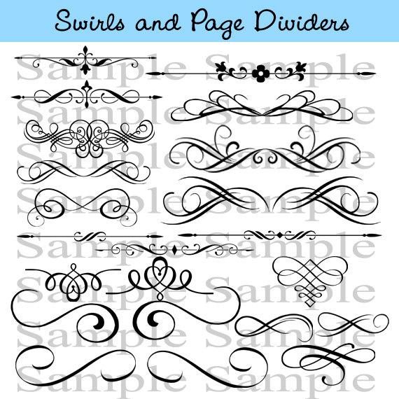 Flourish clipart calligraphic. Swirls wedding instant download